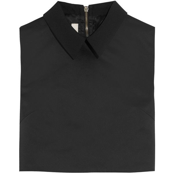 McQ Alexander McQueen Cropped crepe-trimmed satin top (£360) ❤ liked on Polyvore featuring tops, crop top, black, mcq by alexander mcqueen, black zipper top, black top, zip crop top and black satin top