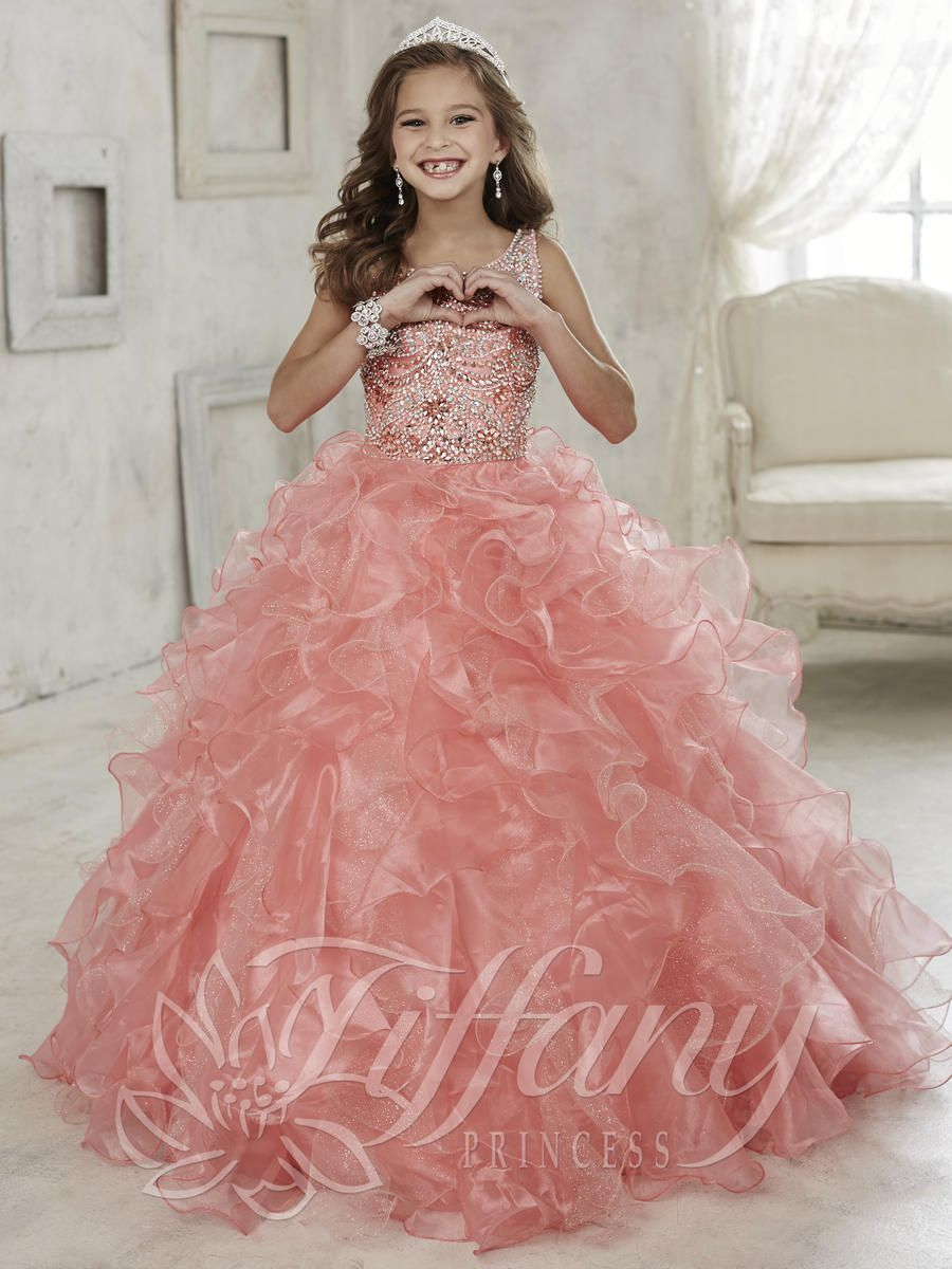 Girls Pageant Gown by Tiffany Princess Style 13444 | Flower girl ...