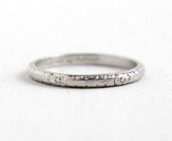 Antique Art Deco Platinum Orange Blossom Flower Ring Vintage 1920s Size 6 1 4 Fl Eternity Wedding Band Fine Jewelry Hallmarked Lambert