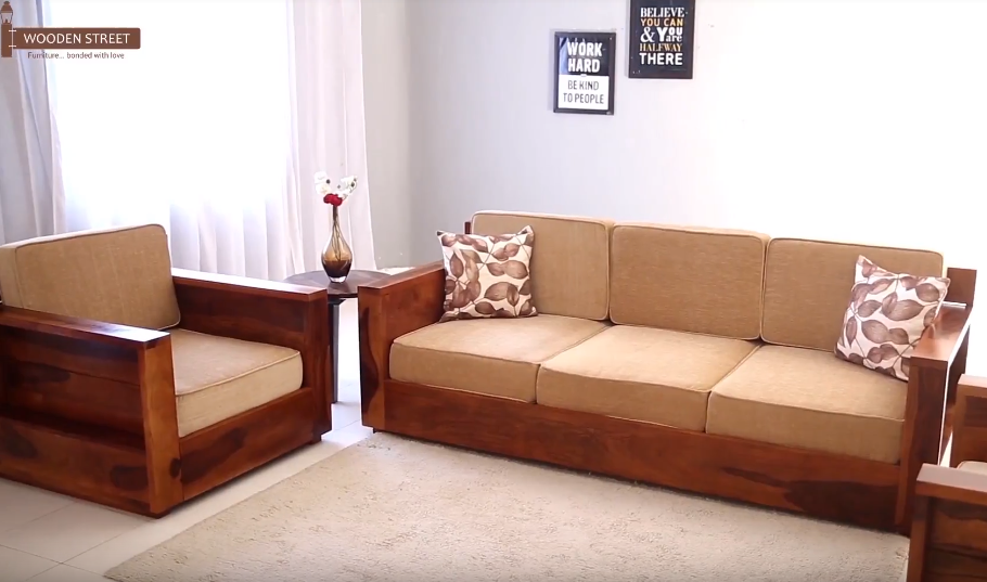 The Beautiful Agnes 3 Seater Wooden Sofa Is Spacious And Classic