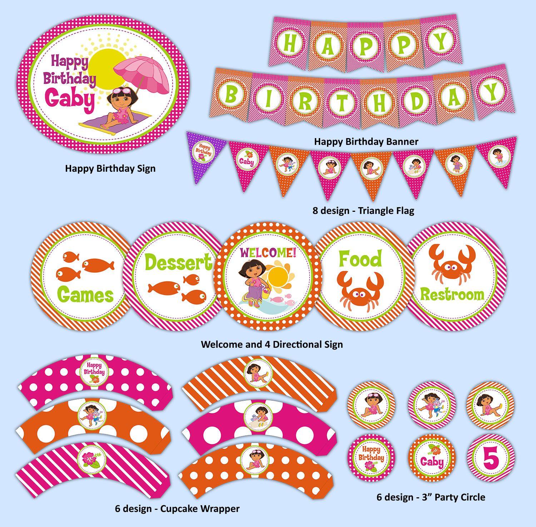 Dora Summer Beach Pool Printable Party Decoration Kit Debbie