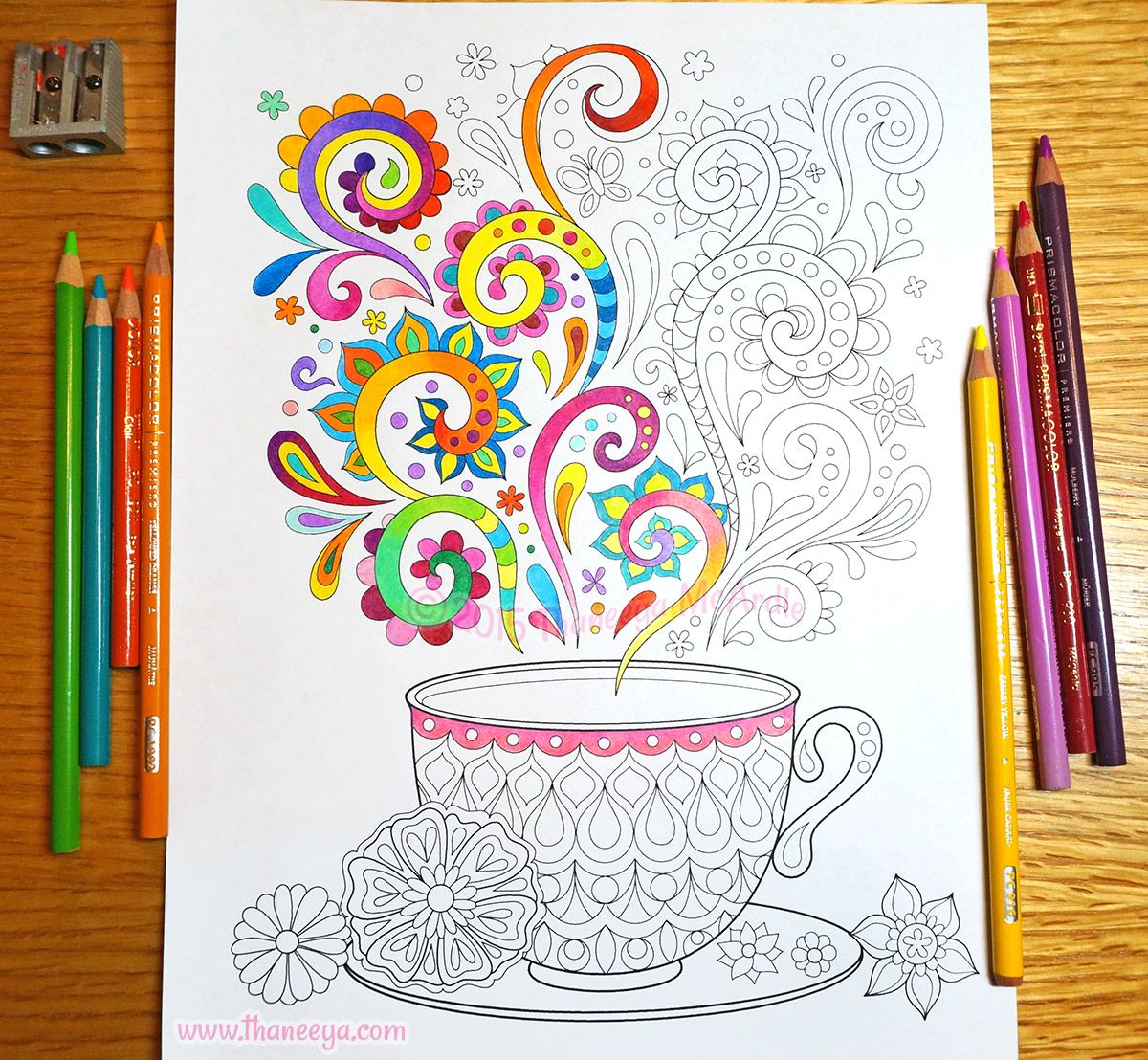Tea Cup Coloring Page From Thaneeya Mcardle