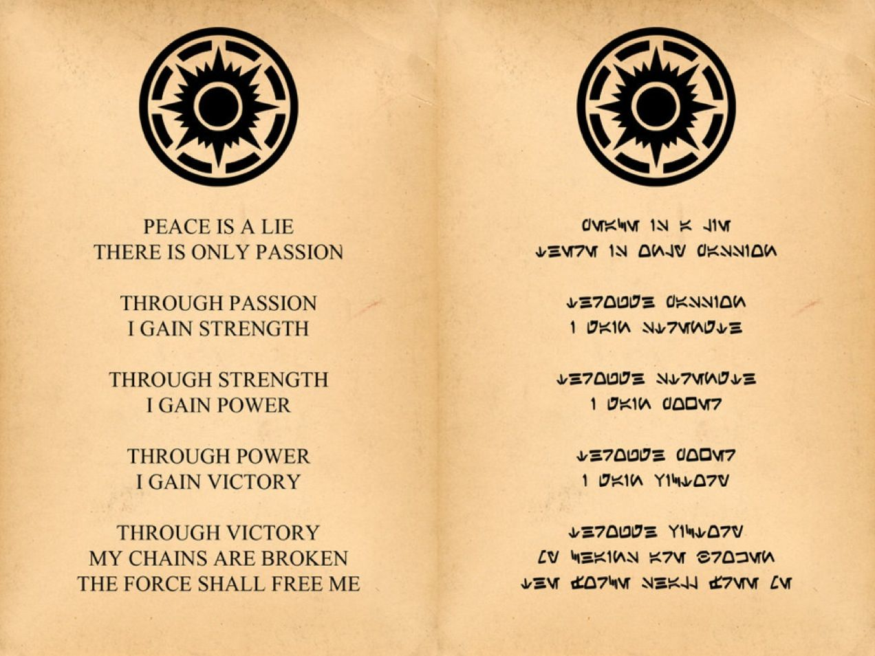 Sith Code In English And In The Aurebesh Alphabet