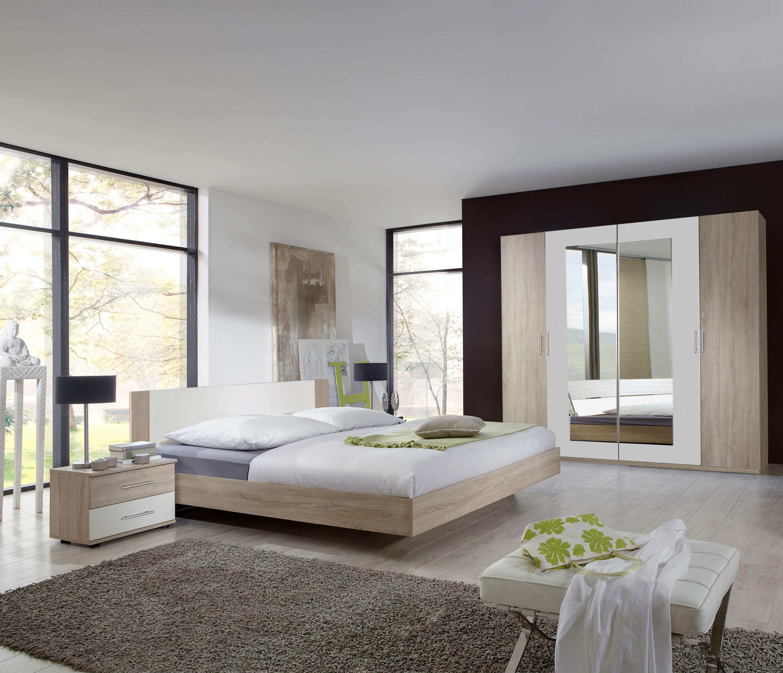 Schlafzimmer Mit Bett 14 X 14 Cm Eiche Sägerau/ Alpinweiss Woody ...