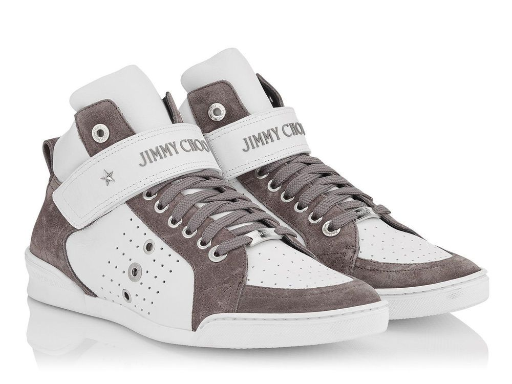 ee4c77e8fd0 eBay  Sponsored Jimmy Choo men s high top fashion sneakers athletic shoes  in white grey leather