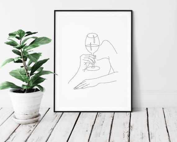 Wine Hands Art Print | Wine Woman Line Art | Wine Drinker Poster | Minimalist Wine Lover Art | Line Drawing Wine Glass | Line Art Wine Print -   14 minimalist planting Art ideas