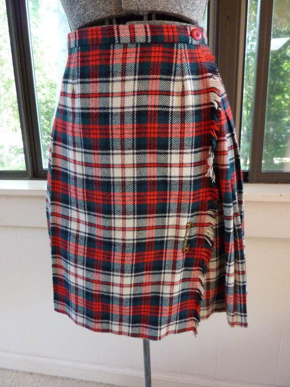 aeb3c7bc1 Vintage Kilt Wool Skirt Hip Pleats Wrap by BonniesVintageAttic ...