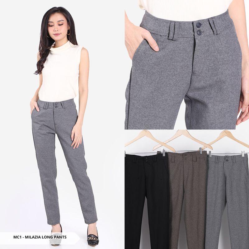 Trend Fashion Celana Panjang Wanita Untuk Kerja Dan Acara Lalinnya Eriuna Plain High Waist Long P Celana Panjang Wanita Celana Wanita Gaya Model Pakaian Korea