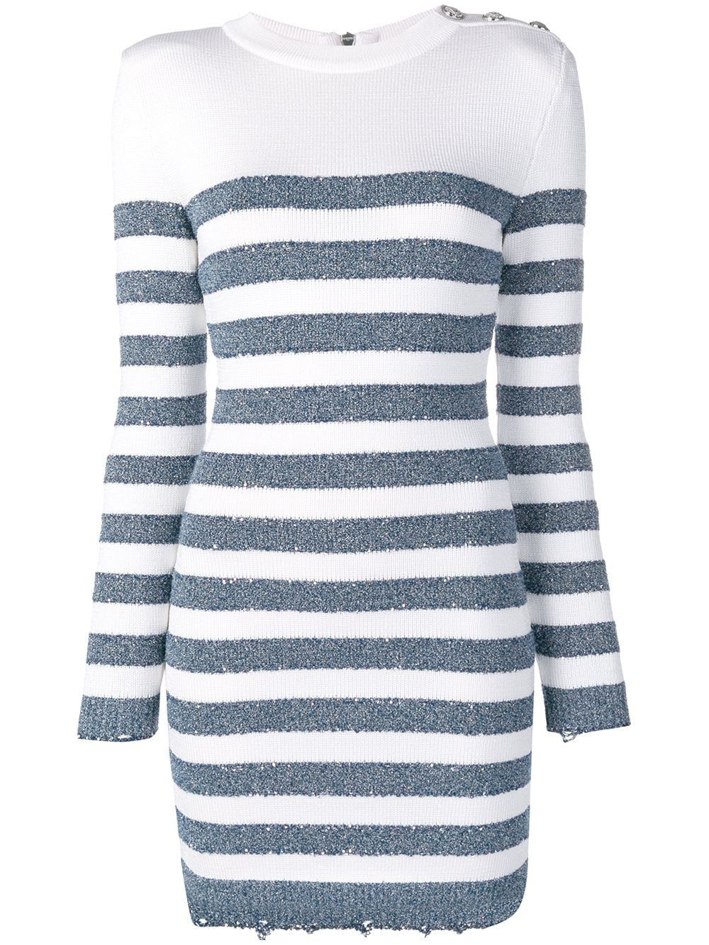 Balmain Horizontal Stripes Knitted Dress Farfetch Striped Knit Dress Striped Knit Horizontal Striped Dress [ 1334 x 1000 Pixel ]