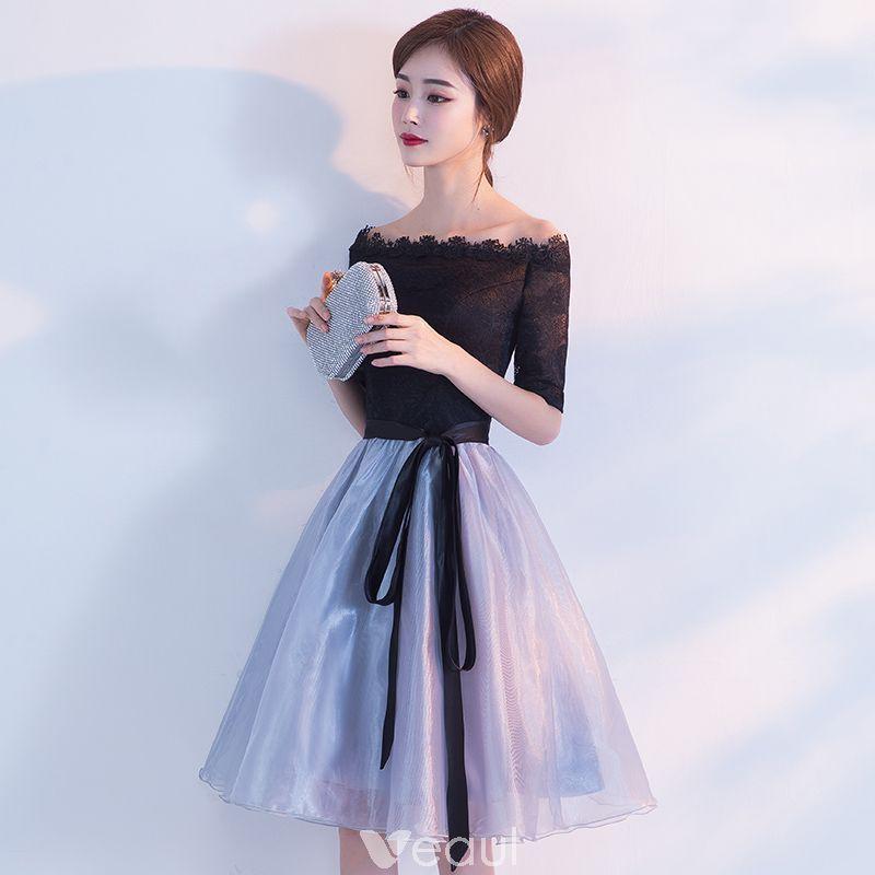 b6c891801b8 Chic   Beautiful Homecoming Graduation Dresses 2017 Black Sky Blue A-Line    Princess Knee-Length Off-The-Shoulder Backless 1 2 Sleeves Sash Lace Formal  ...