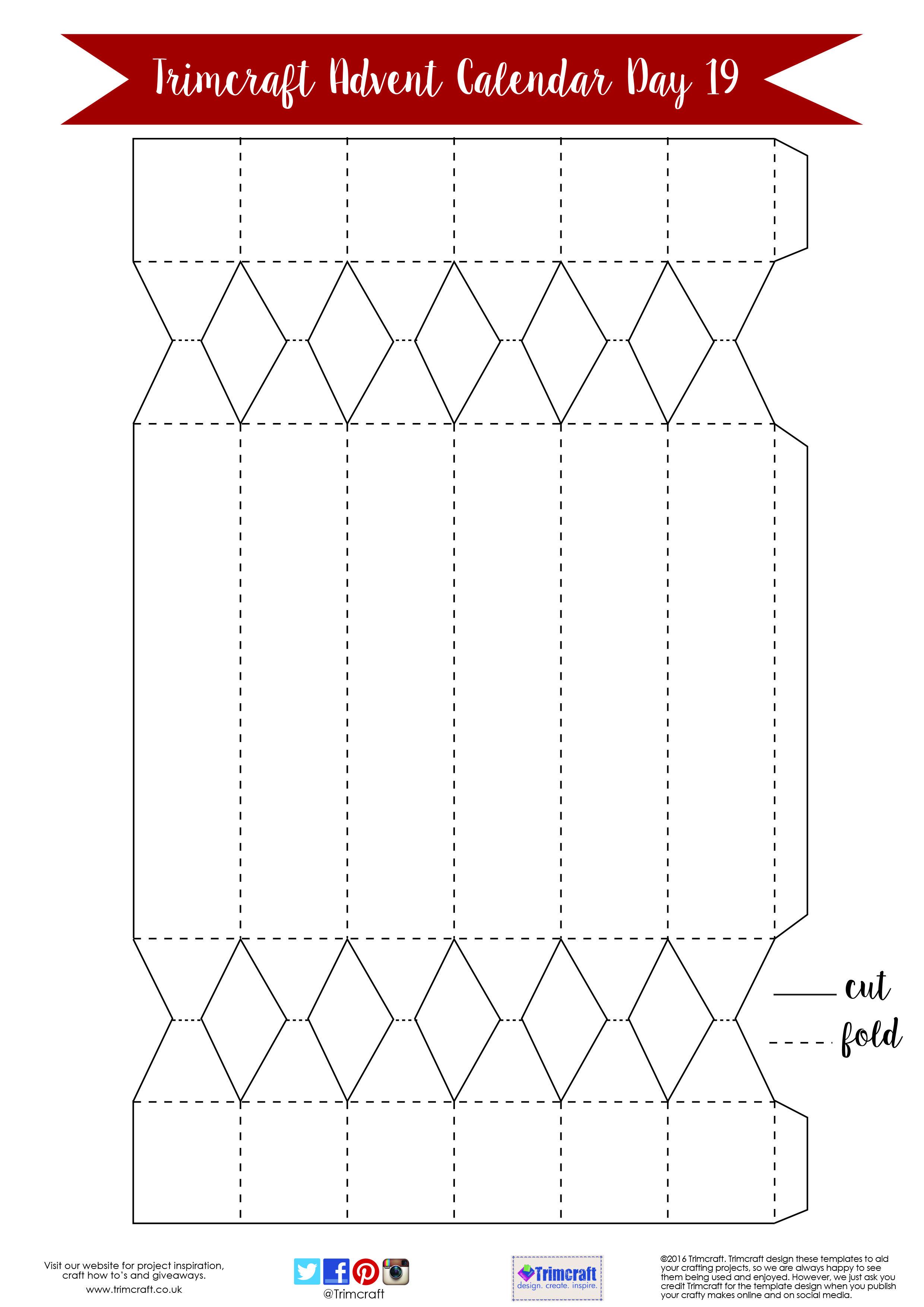 Christmas Cracker Template.Trimcraft Advent Calendar Day 19 Free Hexagonal Christmas