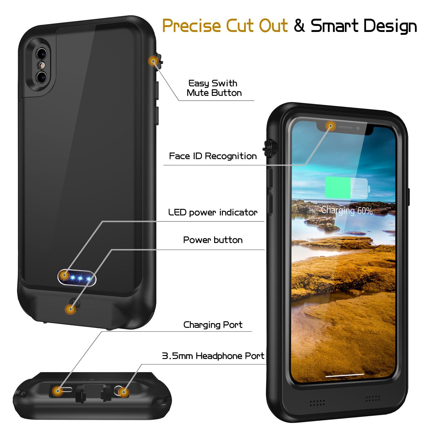 new products d17f3 3ac25 iPhone X Water Resistant Battery Case With Qi Wireless Charging ...