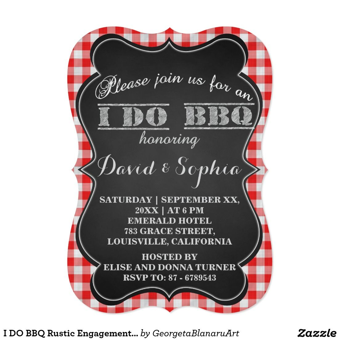 I DO BBQ Rustic Engagement Party Card | Wedding :Engagement Party ...