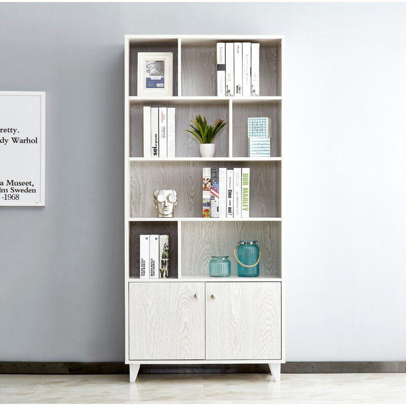 Rathore 68 H X 31 5 W Standard Bookcase White Wood Bookcase Modern Bookcase Bookcase