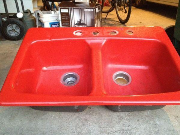 Kohler Red Kitchen Sink Cast Iron