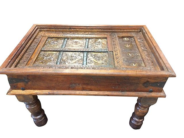 Reclaimed Wood Furniture Classic Country Style Square Coffee Table