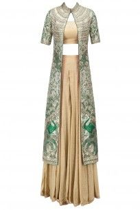 7a201d8a78e Green Floral Embroidered Jacket with Gold Blouse and Palazzo Pants ...