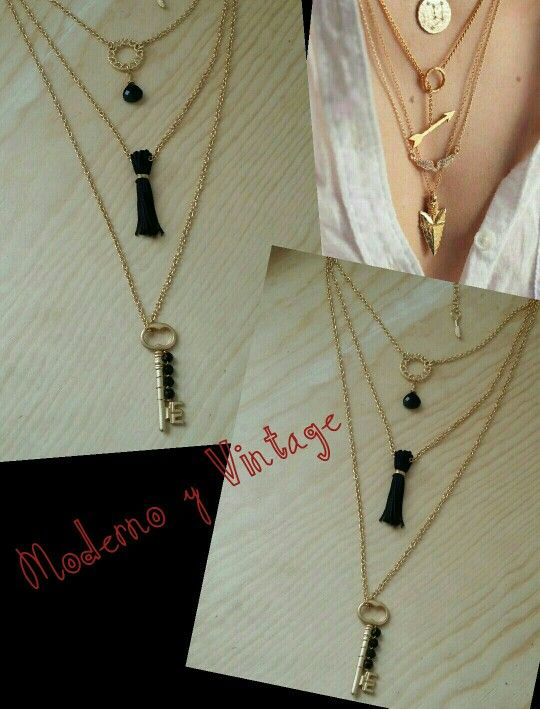 Collar chapa de oro de 3 vueltas #dijes# llave # gold plated