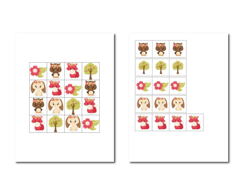 Woodland Learning Game Printable Worksheets Preschool