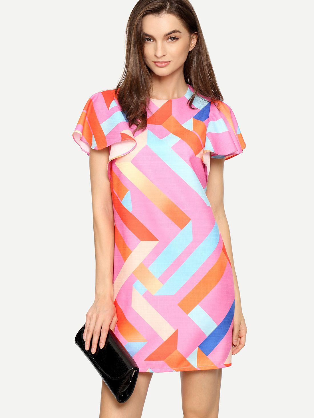 Cómpralo ya!. Multicolor Print Ruffle Sleeve Shift Dress. Multicolor ...