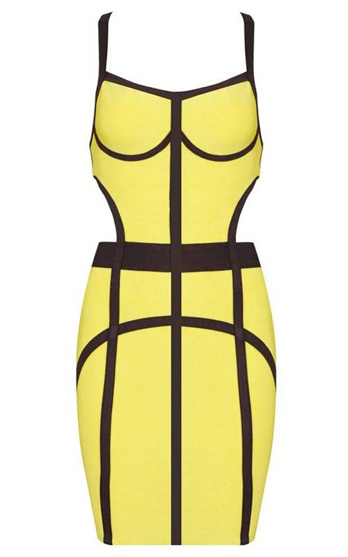 Spicy and adorable! Love the black and yellow combination! #sexydress