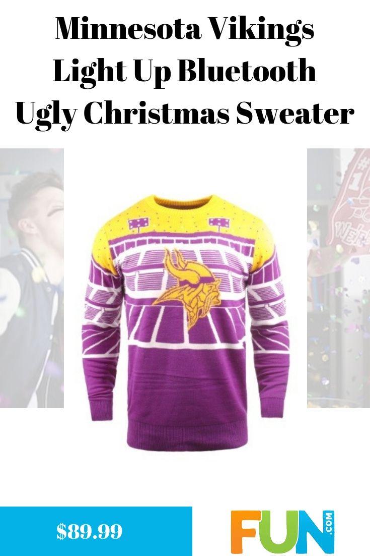 size 40 7ea3d 26fc4 Minnesota Vikings Light Up Bluetooth Ugly Christmas Sweater ...