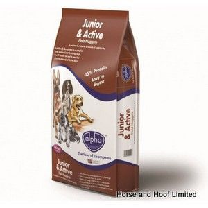 Alpha Junior Active Field Nuggets 15kg Alpha Junior Active Field Nuggets have been designed to provide dogs from the age of 9 months with the  nutrition they need to carry on growing.