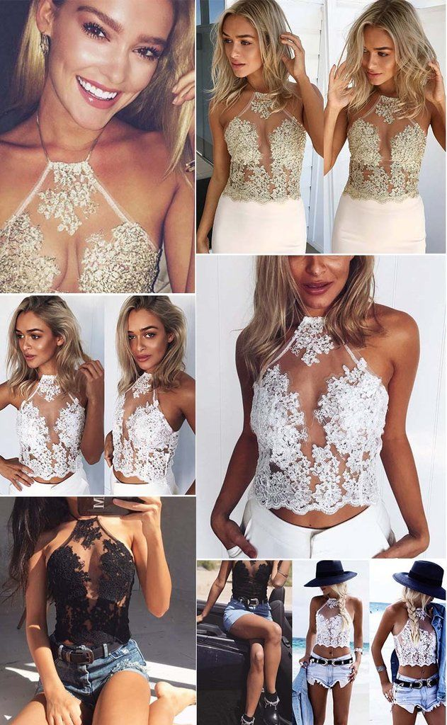 d828a806d27 Women Halter Gold Line Embroidery Mesh Overlay Floral Lace Crop Top Bustier