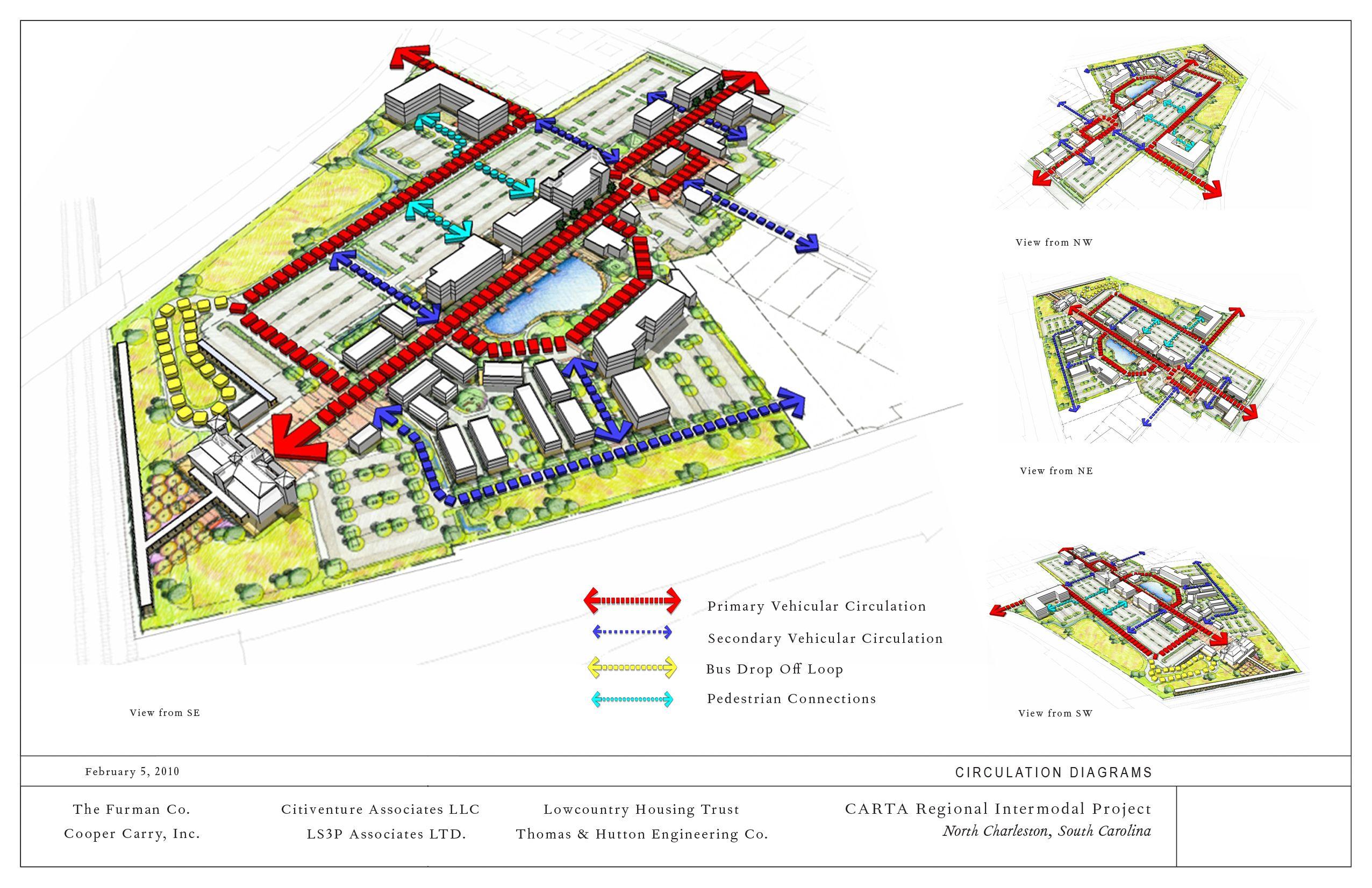 Architectural 3d Diagrams Circulation Diagram On 11x17 Border