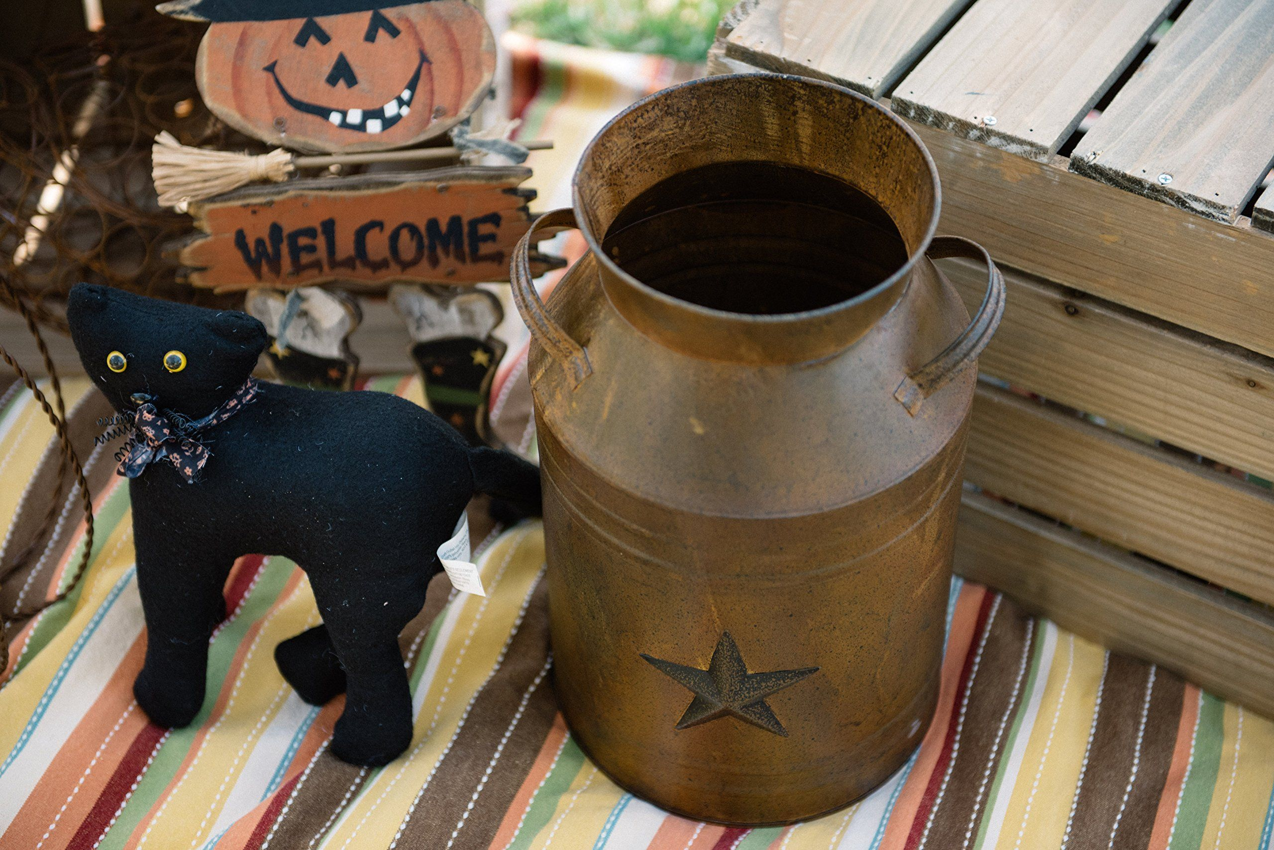 Craft outlet milk can container with star attached 10