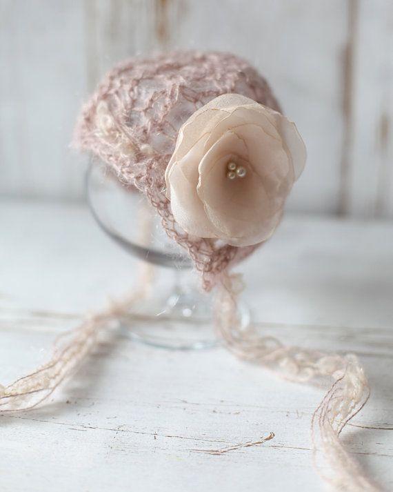 Mohair Newborn Hat, Knit Crochet Bonnet ,Baby Girl Bonnet, Newborn ...
