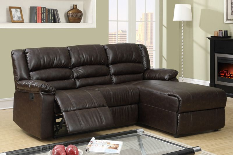 Small Coffee Leather Reclining Sectional Sofa Recliner Right Chaise