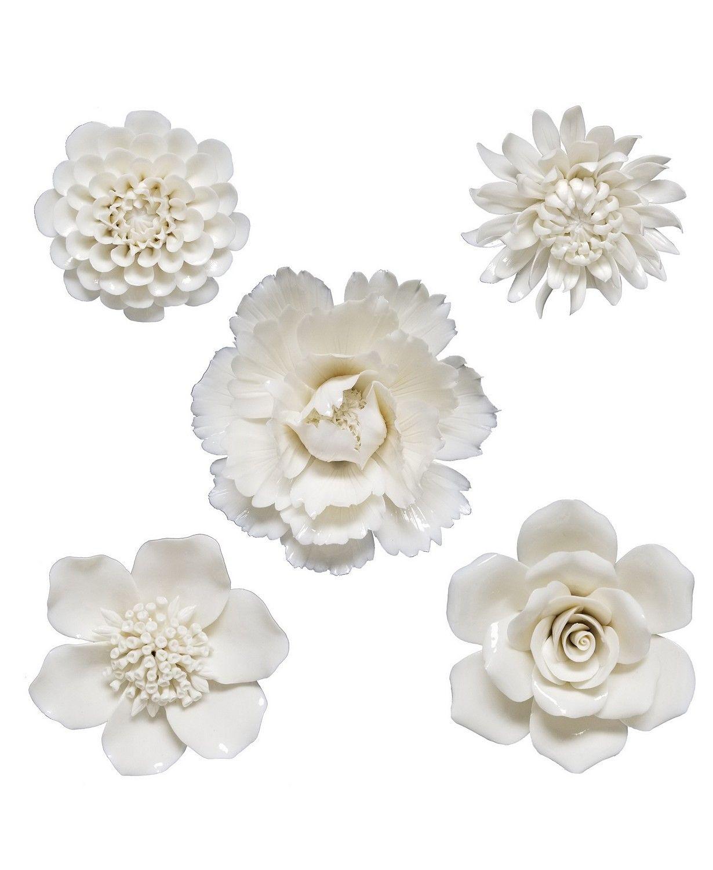 Brewster Home Fashions Klara Set Of 5 Cream Ceramic Floral Wall Decor Reviews All Wall Decor Mirrors Ceramic Flowers Flower Wall Art Flower Wall Decor