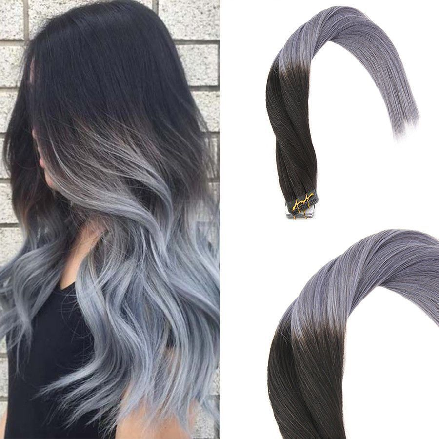 Remy tape in human hair extensions ombre natural black to grey