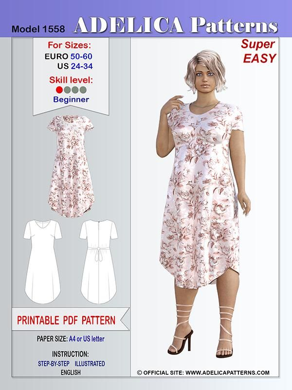 Adelica pattern 1558 Plus size Sewing pattern dress