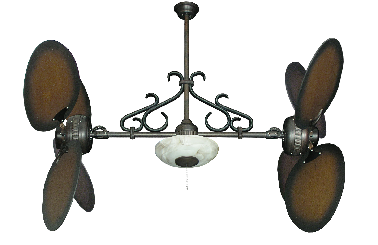Win Star Ii Oil Rubbed Bronze Dual Ceiling Fan With 50 Large Oval Blades Distressed Walnut Finish 171 Light And Scroll