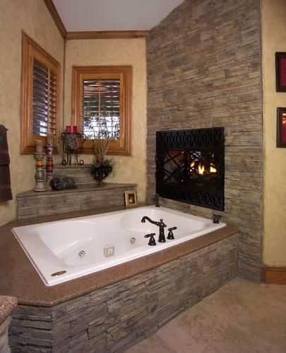 Pin By Amber On Newhouse Ideas Big Bathrooms Bathroom Remodel Master Bathroom Fireplace