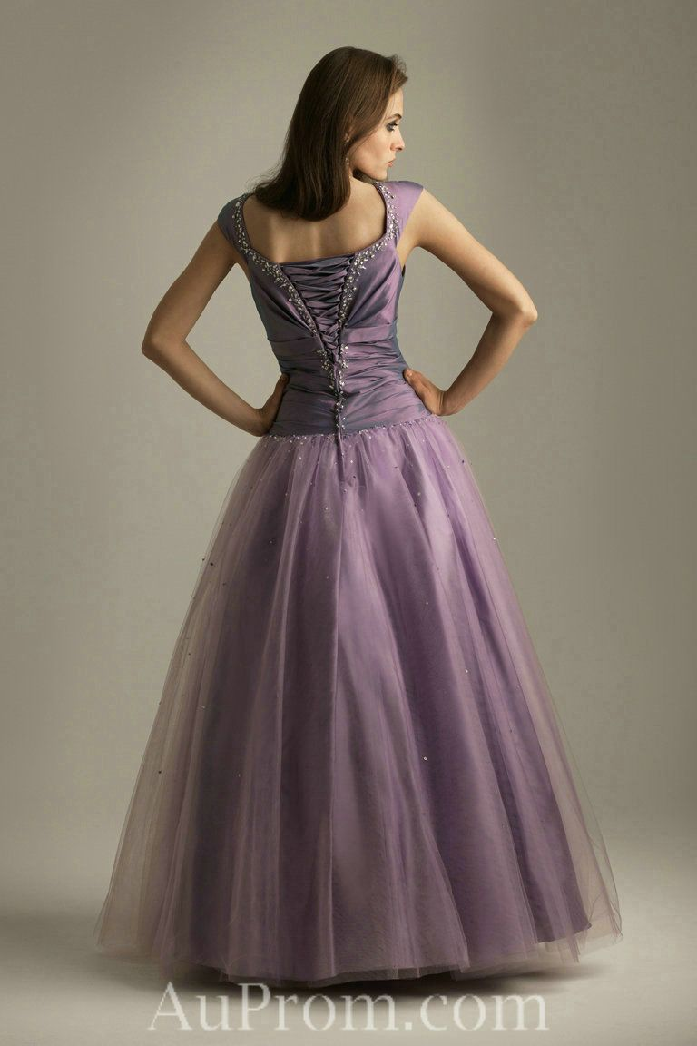 Tulle Natural Beaded Orchid Military Ball Dress With Cap Sleeves ...