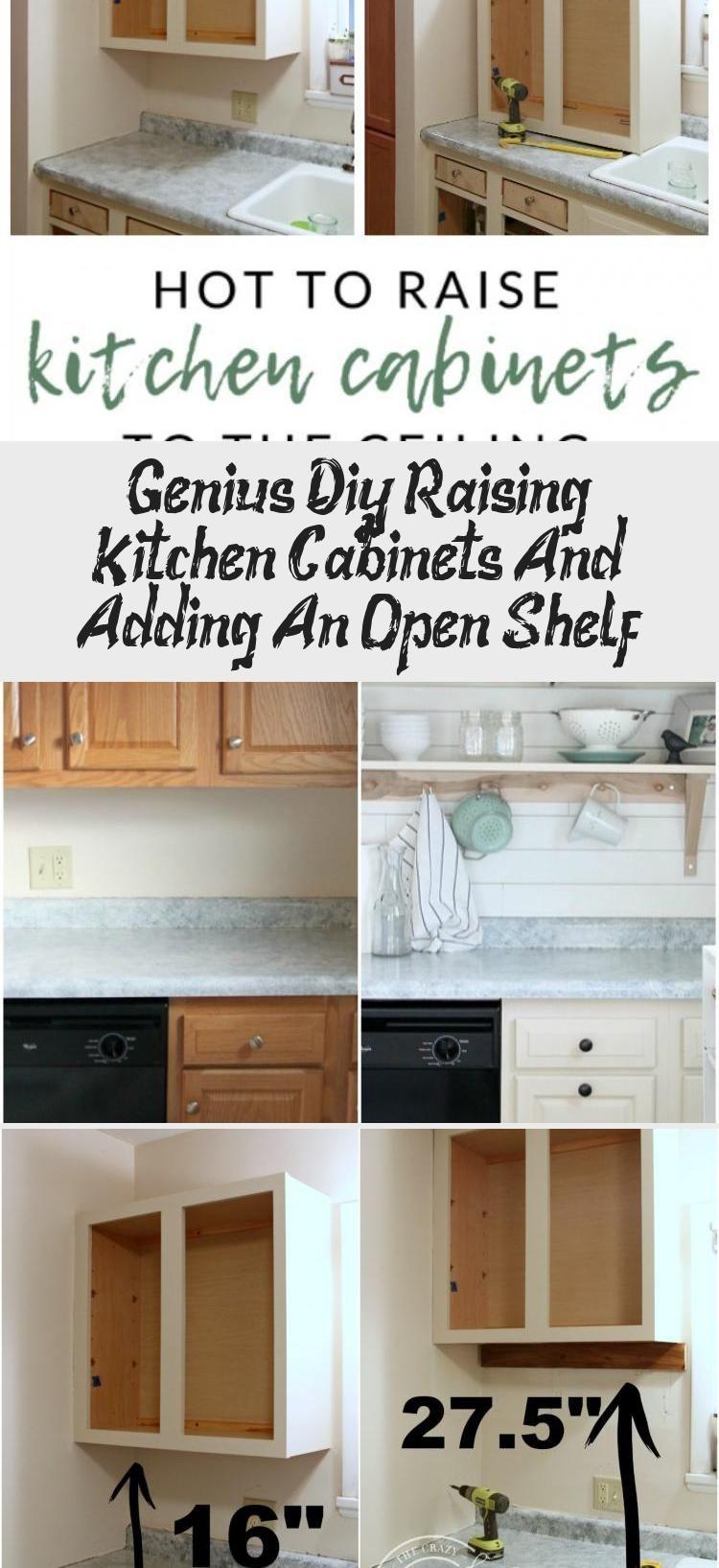 Genius Diy Raising Kitchen Cabinets And Adding An Open Shelf Bilgi Tahtasi In 2020 Small Kitchen Storage Diy Small Kitchen Decor Kitchen Storage Shelves