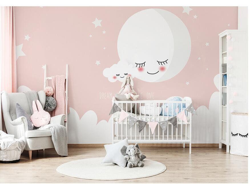 Cartoon Pink Moon And Stars Nursery Wallpaper Lovely Smile Moon