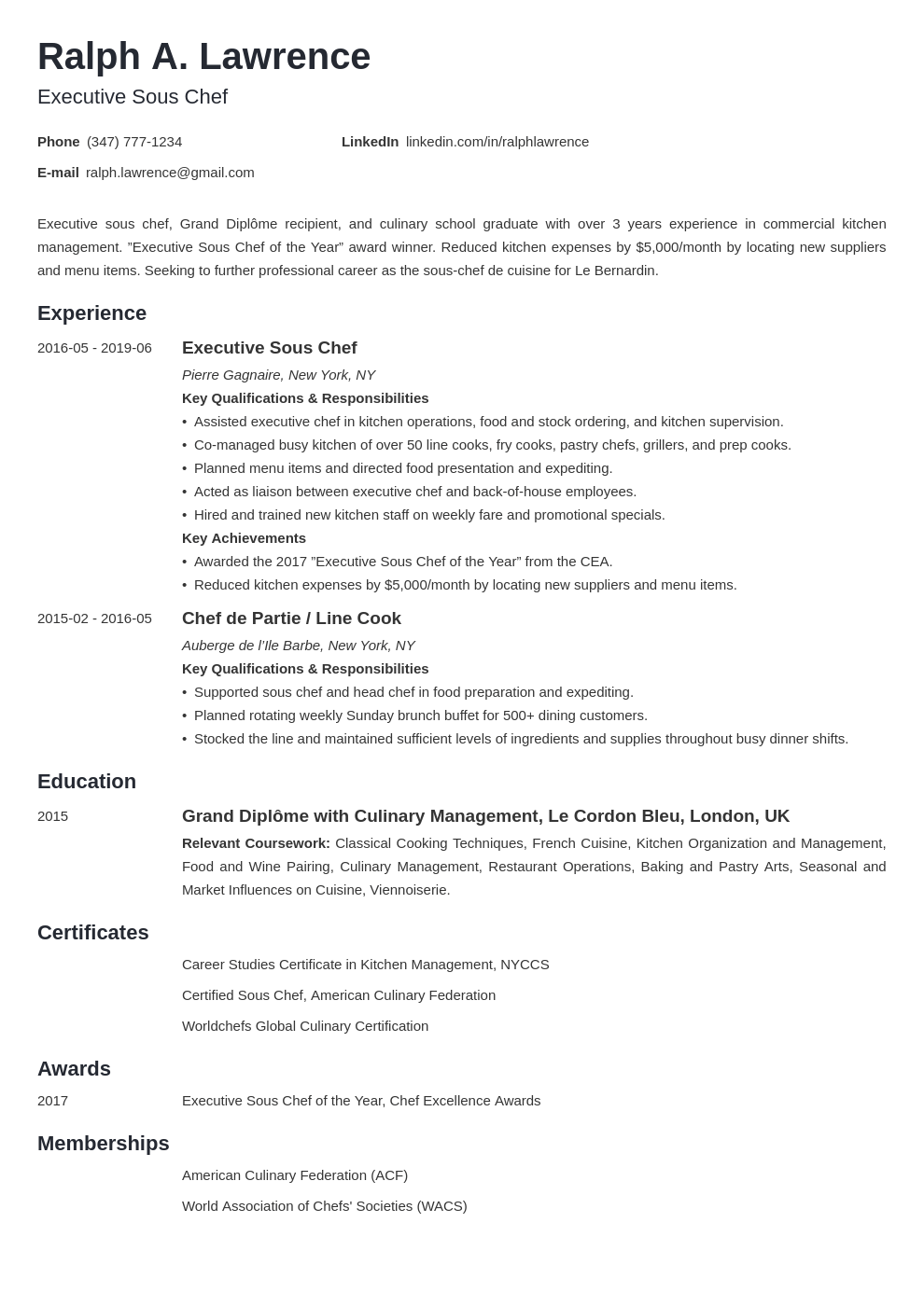 sous chef resume example template minimo in 2020 Chef