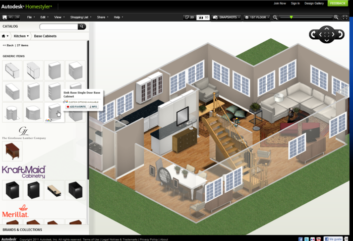 autodesk homestyler easy tool to create 2d house layout