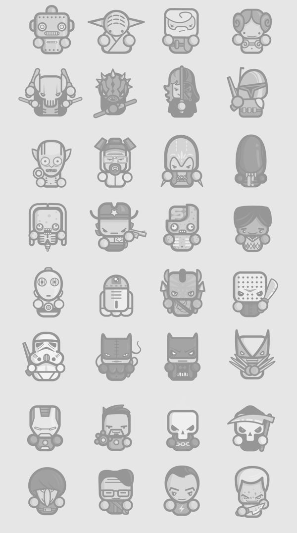 Star Wars Character Outlines : character, outlines, Simple, Konrad, Kirpluk,, Behance, Icons,, Geek,