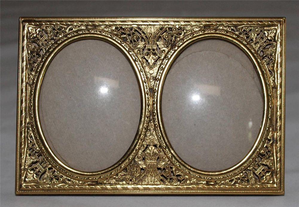 VTG Ormolu Gold tone Metal Filigree Double Picture Frame Convex ...