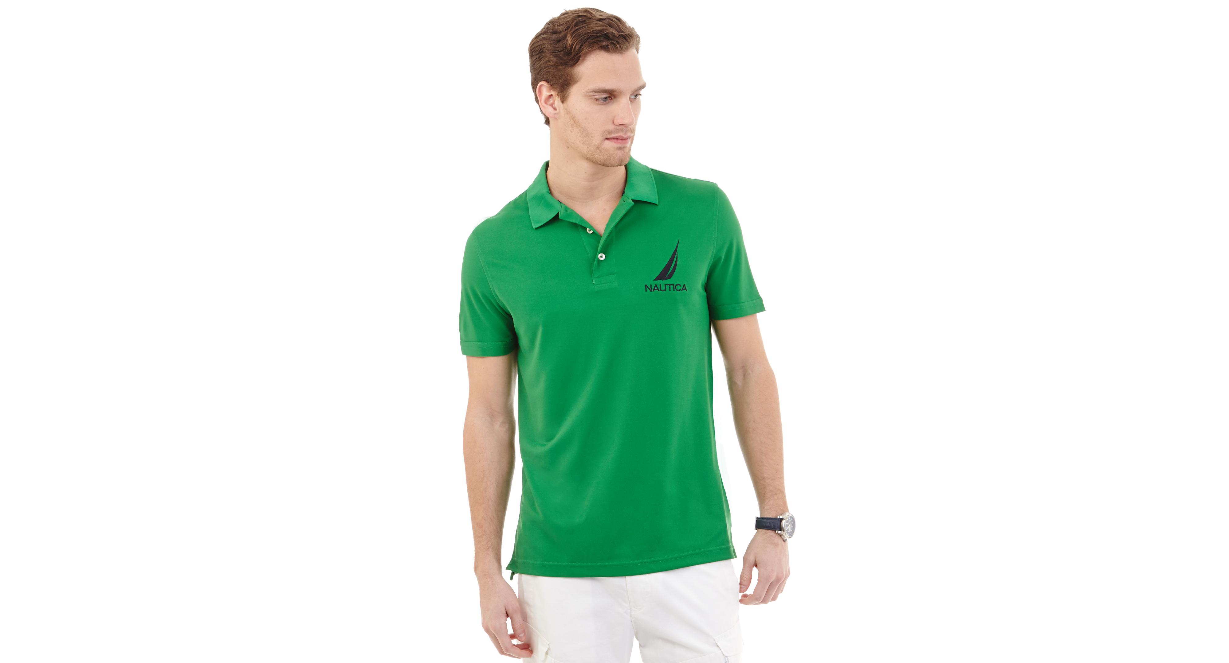 Nautica Tech Solid Logo Golf Polo