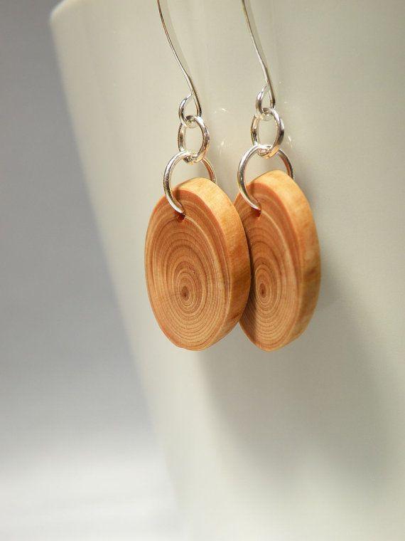 ecofriendly OOAK earrings natural earth tones jewelry handmade from reclaimed wood Minimalist wooden dangle earrings with silver