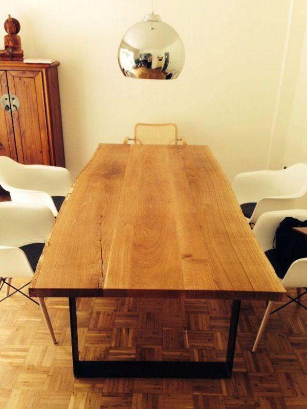 Esstisch eiche massiv baumkante stahl tables dining and for Esstisch nuss