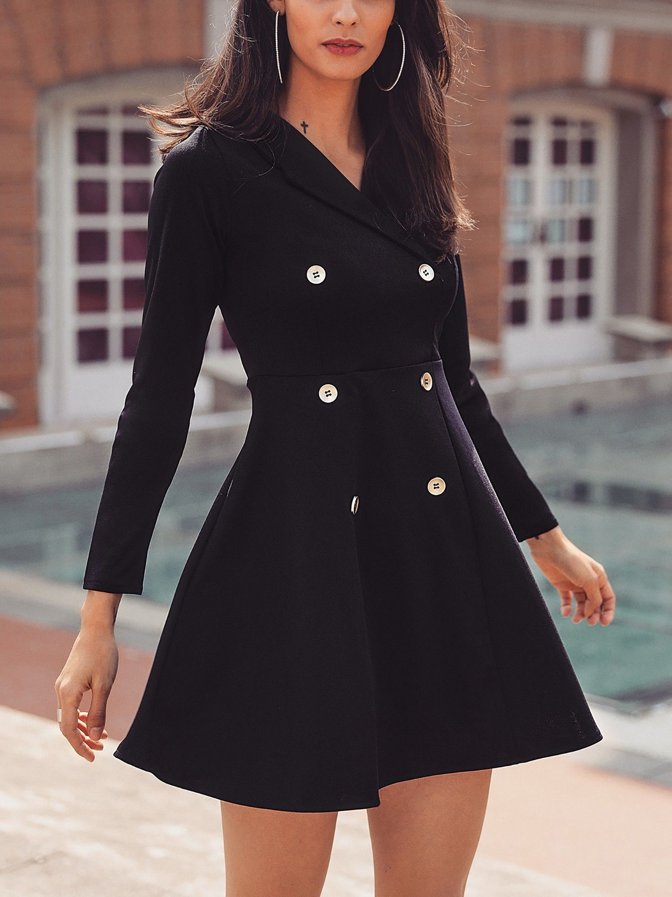900a39dfbdf Solid Double-Breasted Pleated Blazer Dress