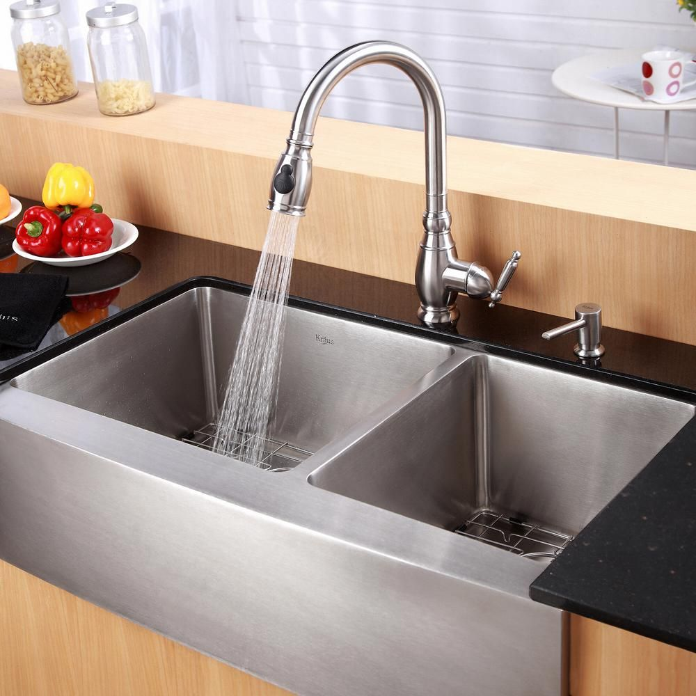 Kraus Standart Pro Farmhouse Apron Front Stainless Steel 36 In Double Bowl Kitchen Sink Khf203 36 Double Bowl Kitchen Sink Farmhouse Sink Kitchen Stainless Steel Kitchen Sink