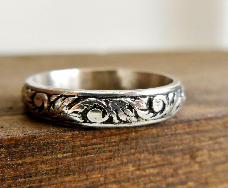 Brushed Silver Ring Hand Forged Sterling Silver Ring Band Simple